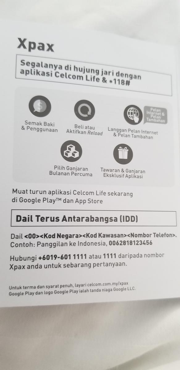 4G SIM Card (KLIA2 Airport Pick Up) for Malaysia by Celcom