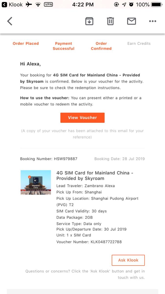 4G SIM Card for Mainland China - Provided by Skyroam