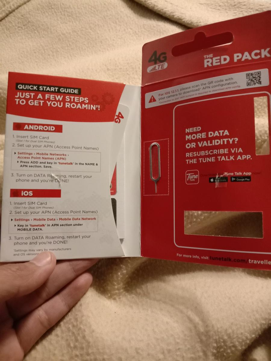 Tune Talk AirAsia Red Pack Traveller 4G SIM Card with 4GB