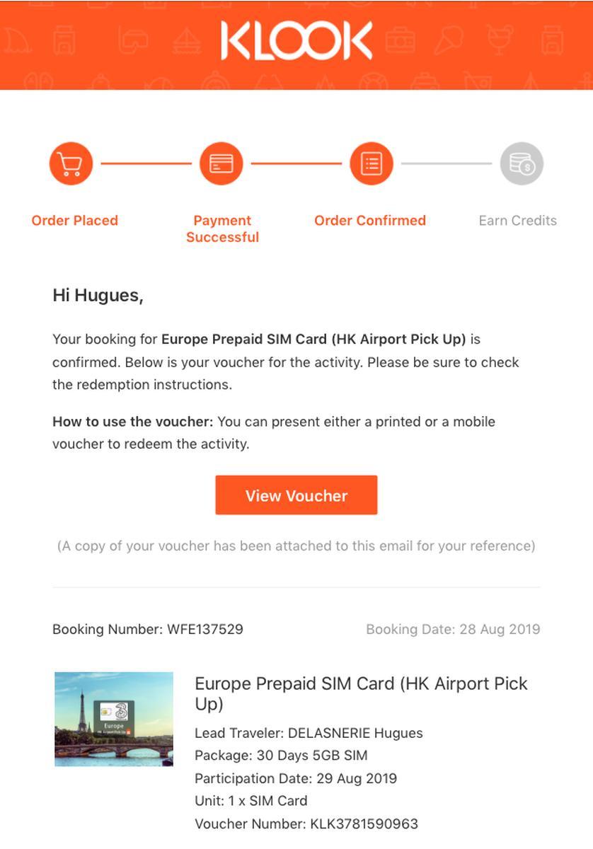 Europe Prepaid SIM Card (HK Airport Pick Up)